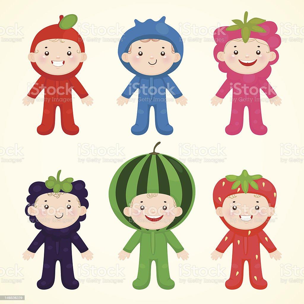 Cute kids in costumes berries royalty-free stock vector art