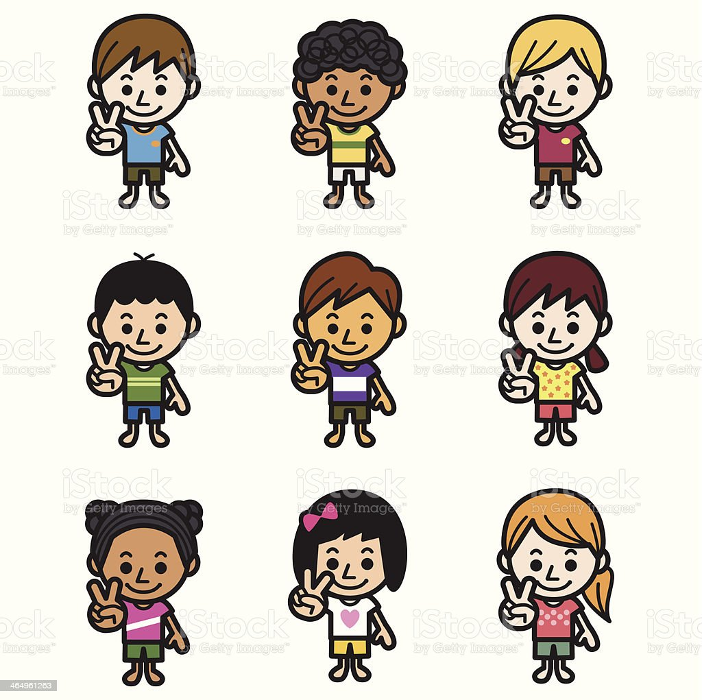 Cute kids making victory sign royalty-free stock vector art