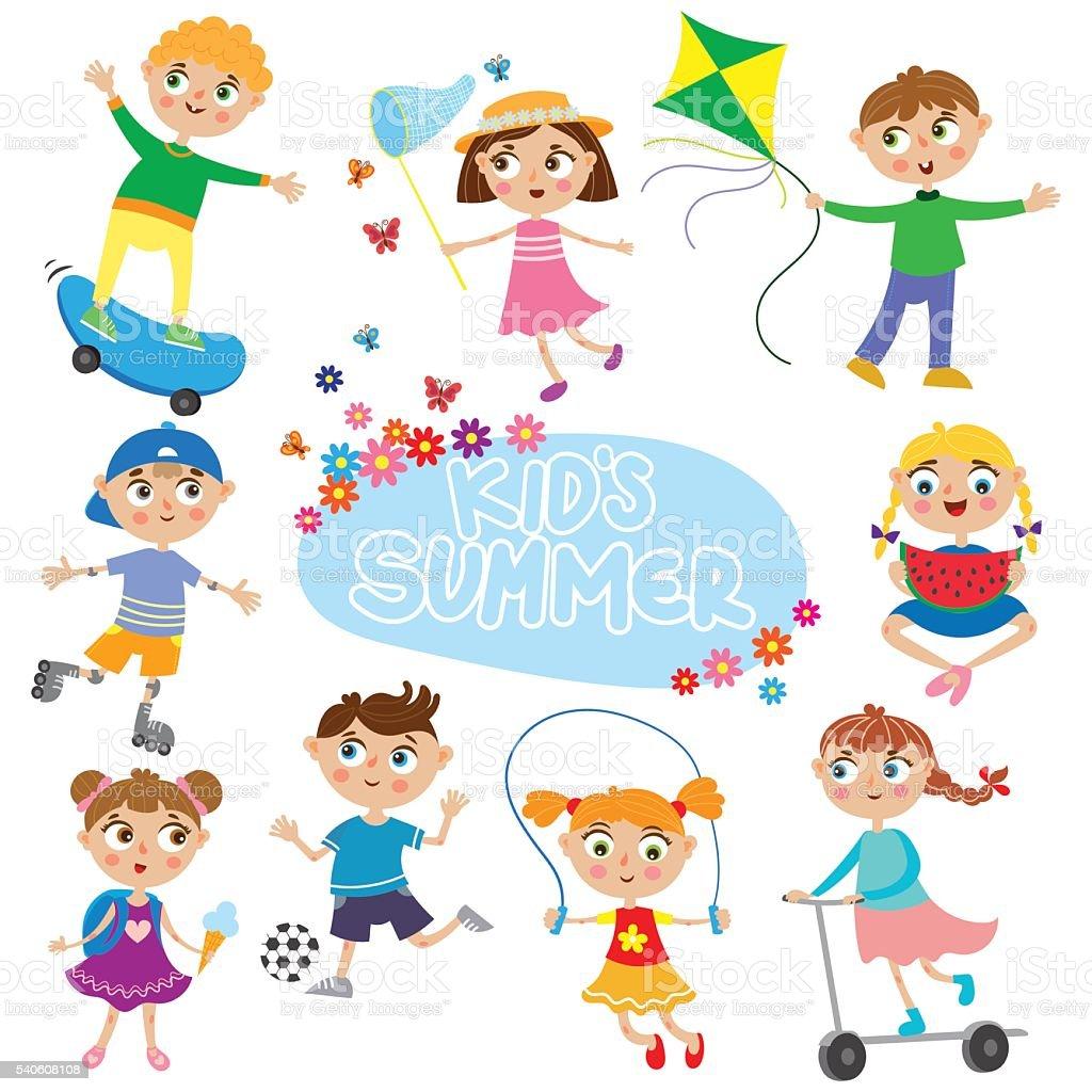 cute kids on holidays. vector art illustration