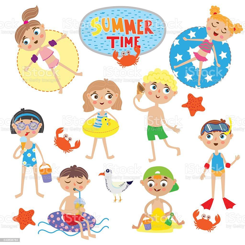 cute kids on summer holidays vector art illustration