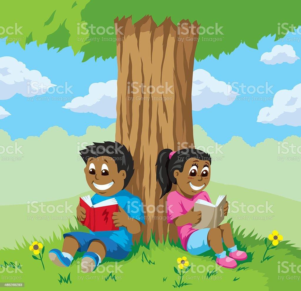 Cute kids reading under a tree vector art illustration
