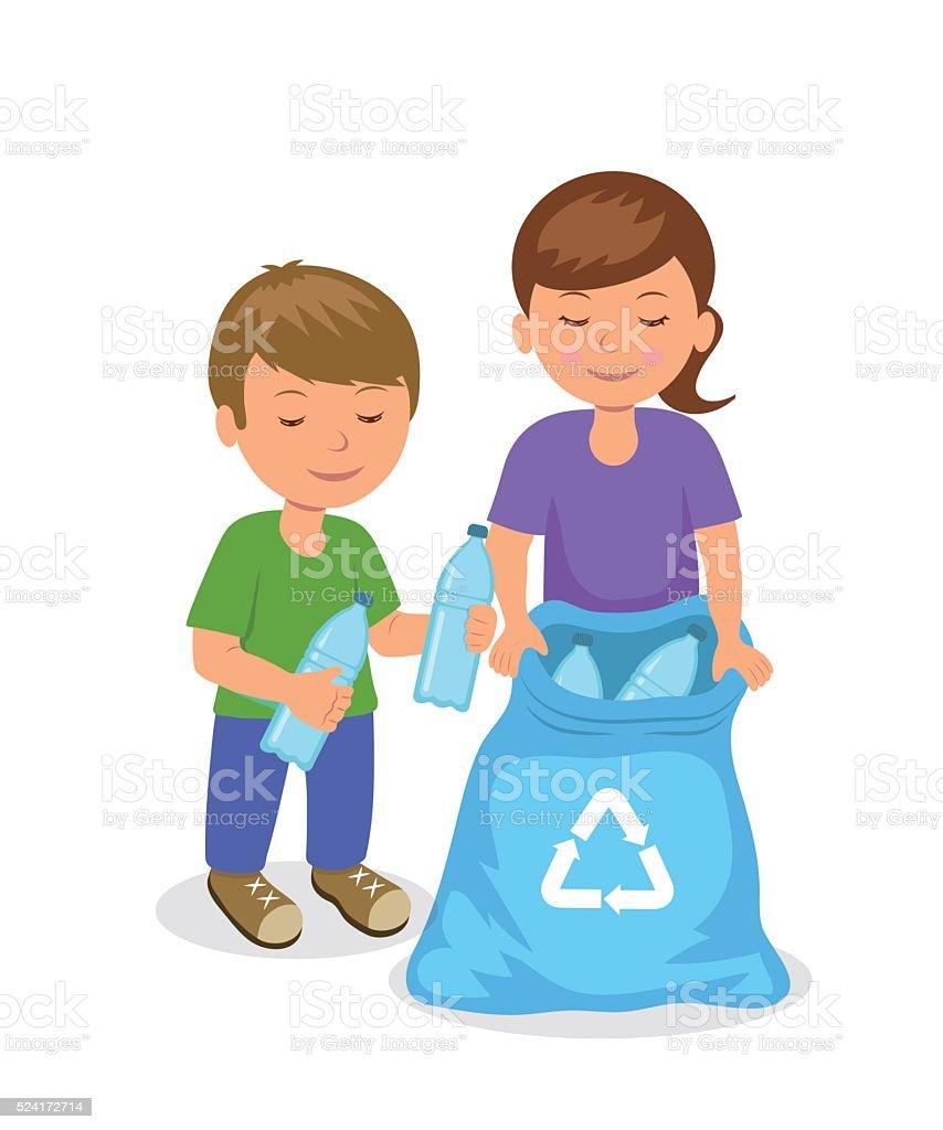 Cute kids to gathering plastic bottles in garbage bag. vector art illustration