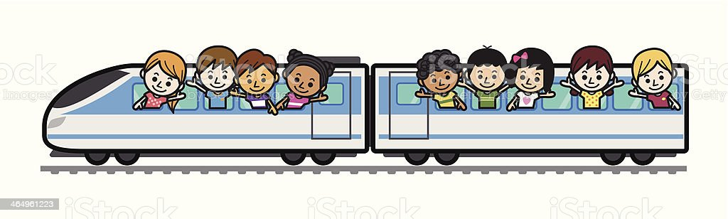 Cute Kids Train Trip royalty-free stock vector art