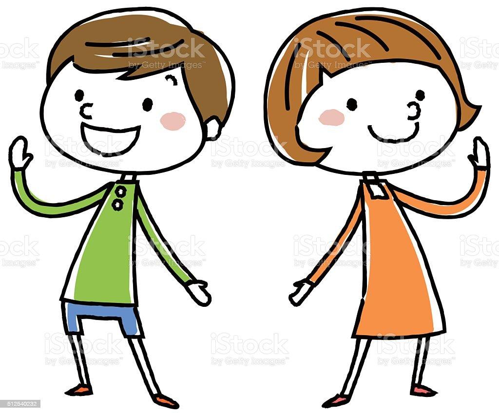 cute kids. Vector Illustration. vector art illustration