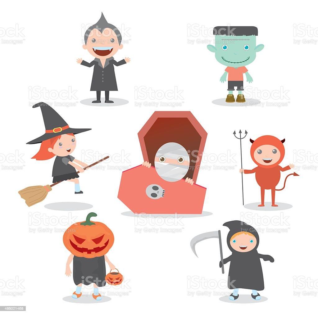 Cute kids wearing Halloween monster costume on white background vector art illustration
