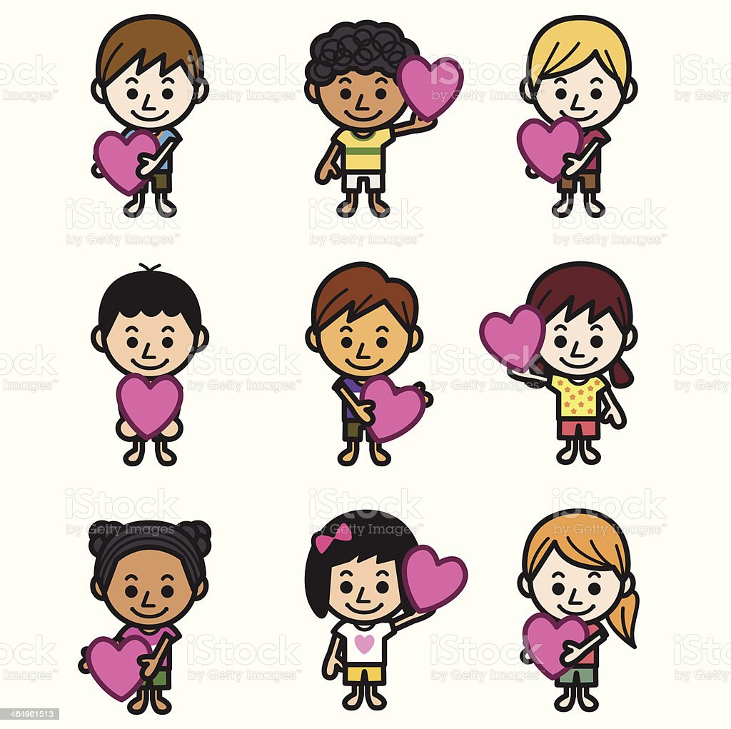 Cute kids with heart royalty-free stock vector art