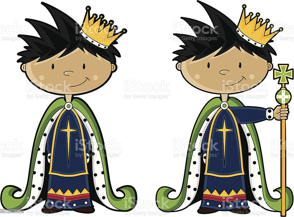 Cute King Character with Sceptre royalty-free stock vector art