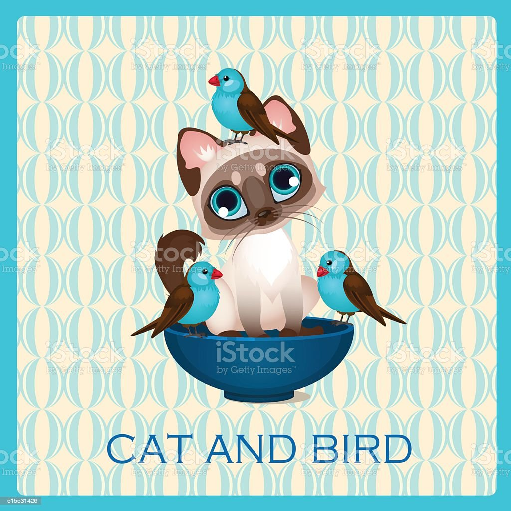 Cute kitten and birds in the blue cup vector art illustration