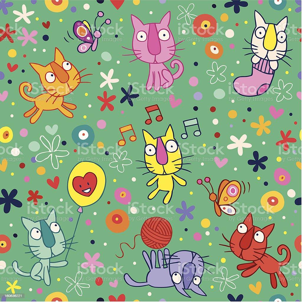 cute kittens pattern royalty-free stock vector art
