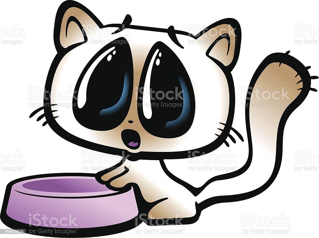 Cute kitty begging near an empty bowl vector art illustration