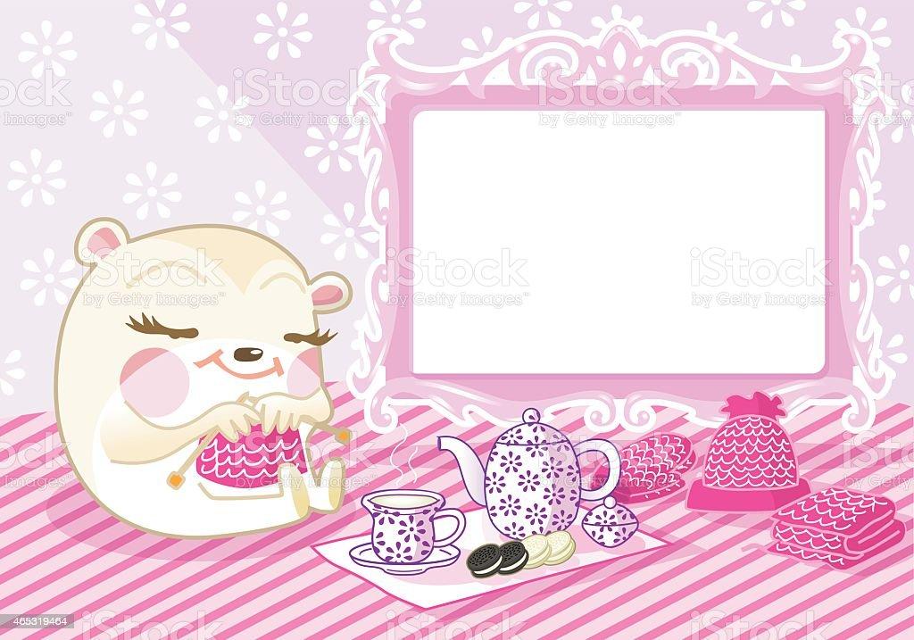 cute knitting bear (pink background). vector art illustration