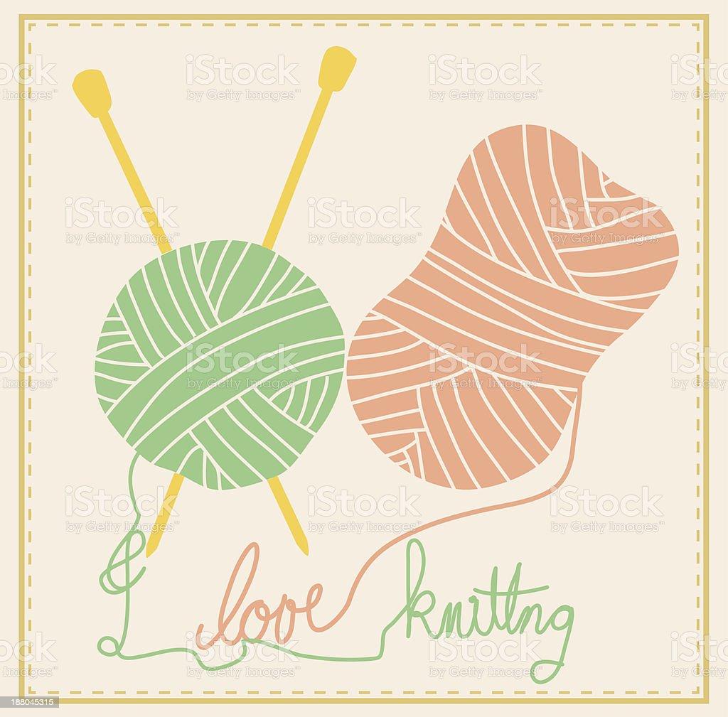 Cute Knitting vector art illustration