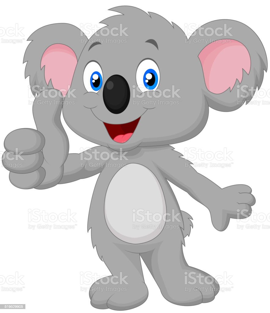 Cute koala cartoon giving thumb up vector art illustration