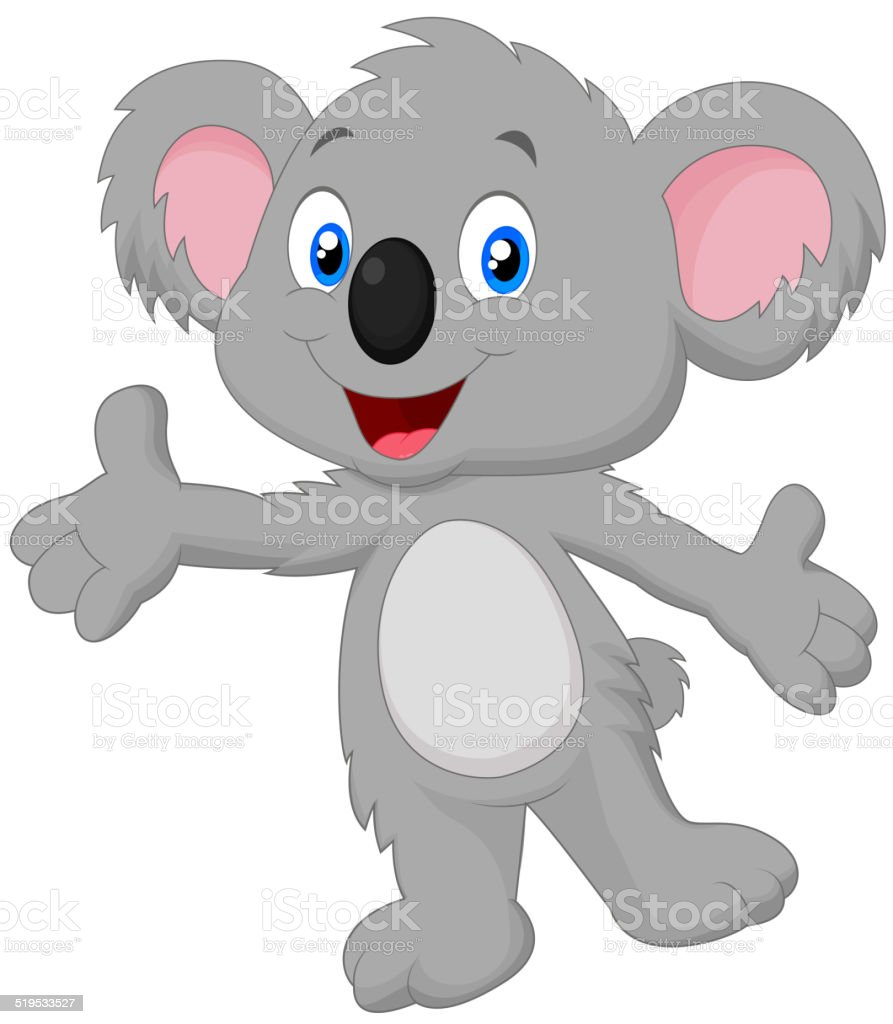 Cute koala cartoon posing vector art illustration