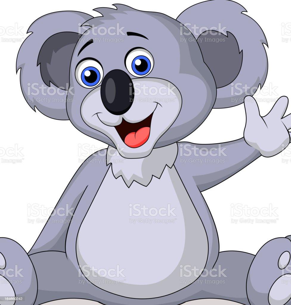 Cute koala cartoon waving hand royalty-free stock vector art