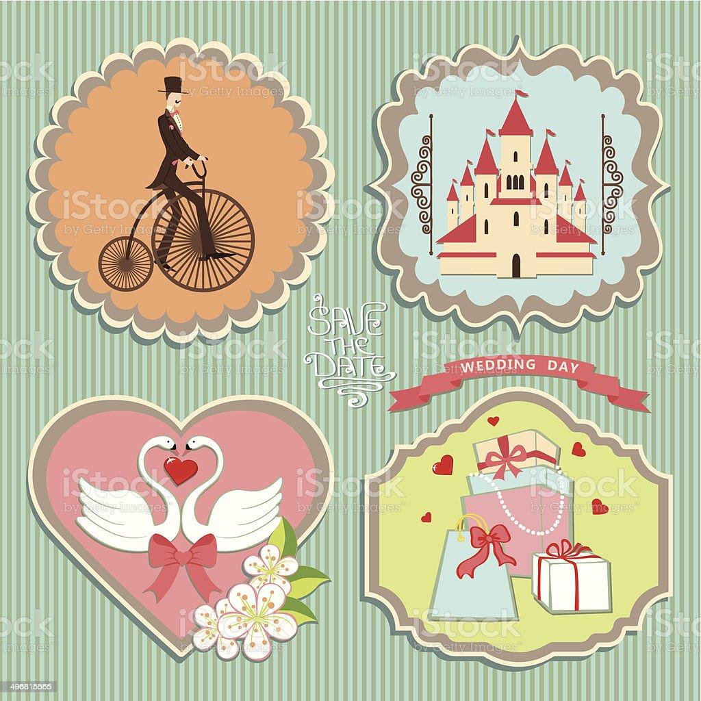 Cute label set with wedding elements.Retro vector art illustration