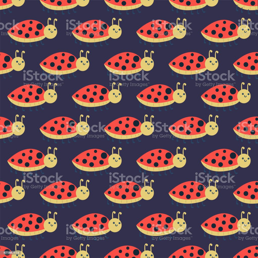 Cute ladybug cartoon red insect nature bug isolated beetle hand drawn vector illustration vector art illustration