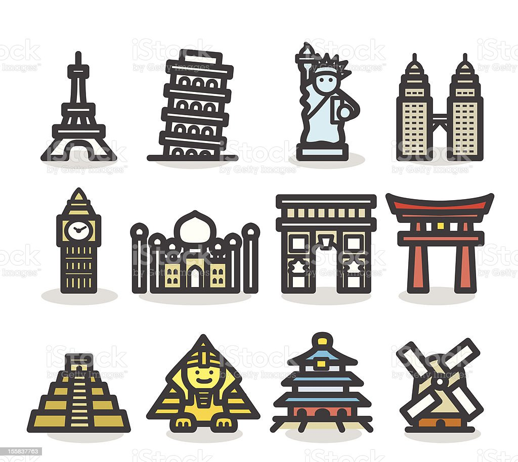 Cute landmark,monuments Icon set vector art illustration