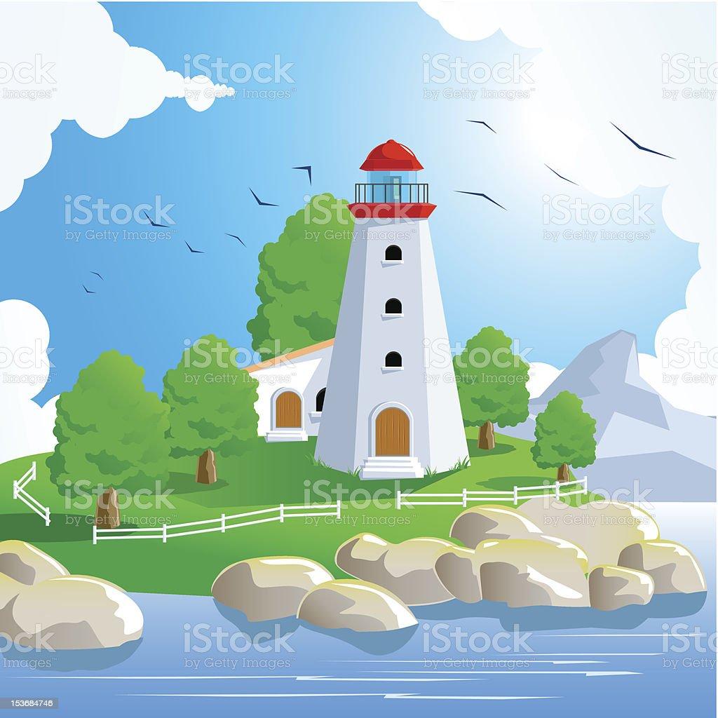Lighthouse Landscape on Spring vector art illustration