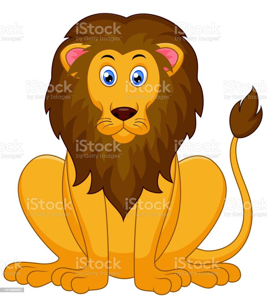 Cute lion cartoon vector art illustration