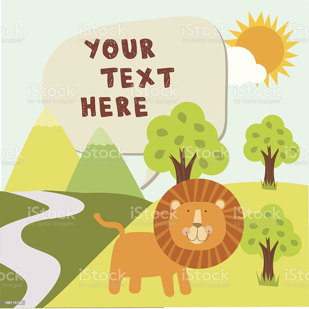 Cute lion in forest with message box vector art illustration