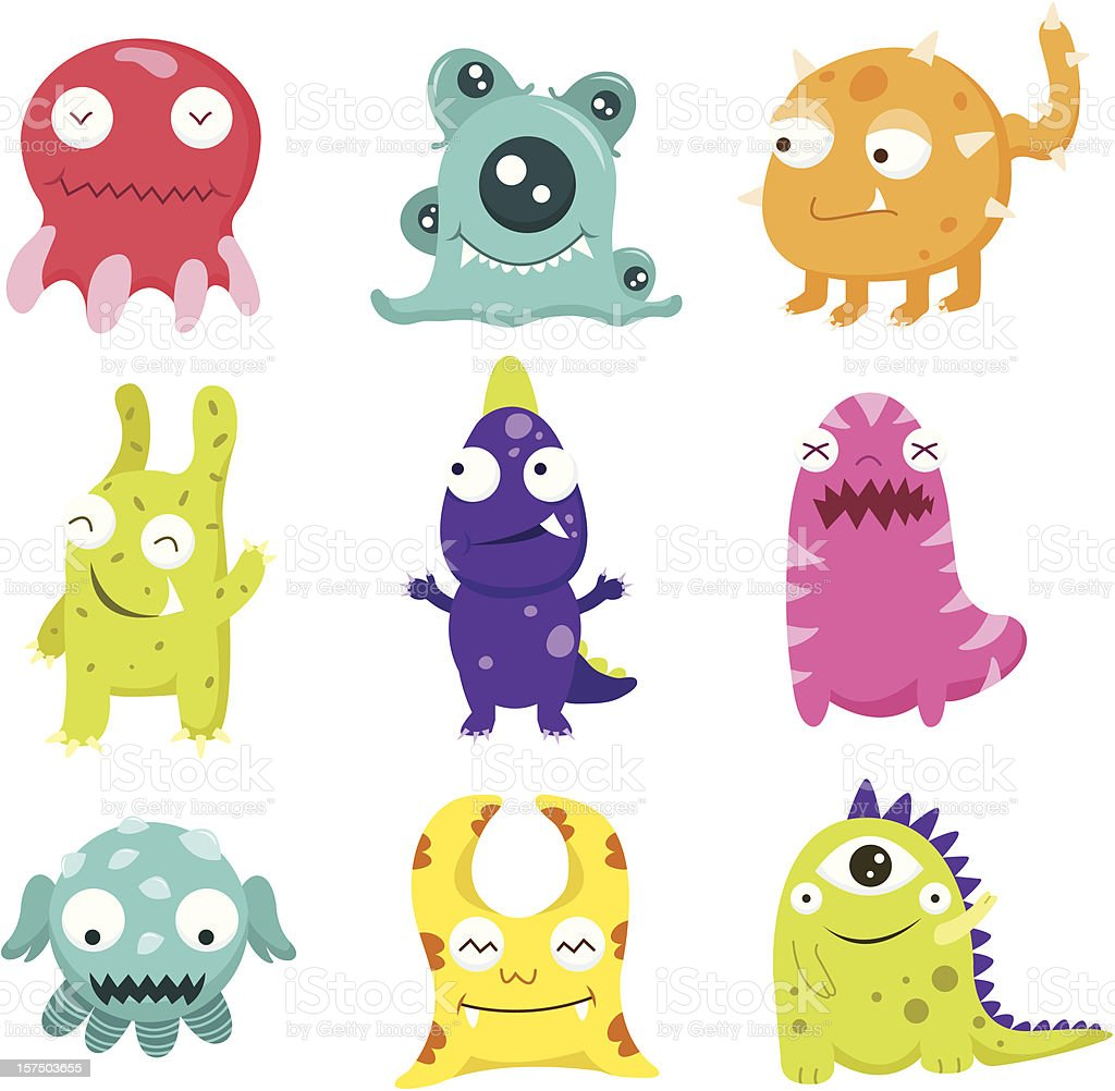 Cute Litter Monsters Set royalty-free stock vector art