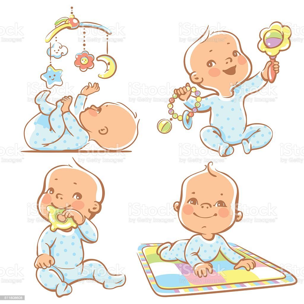 Cute little babies with different toys. vector art illustration