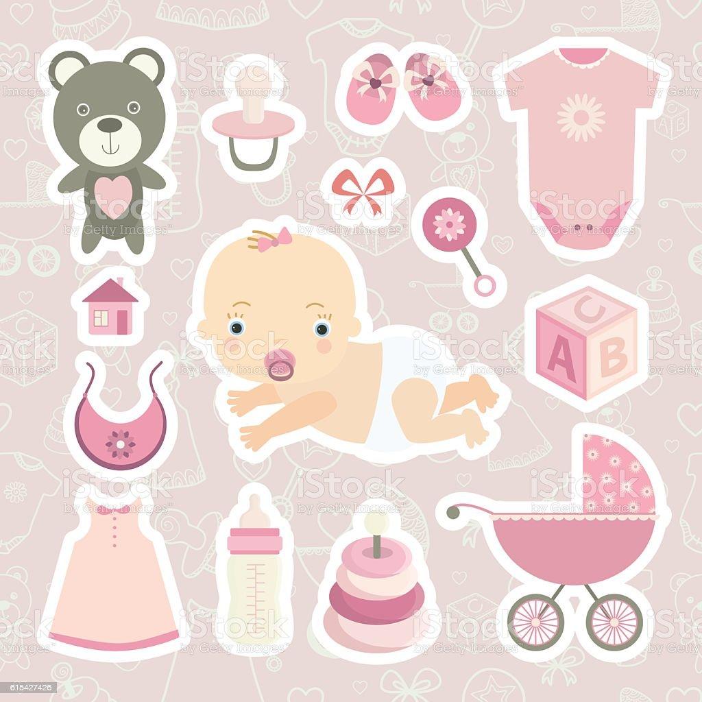 Cute little baby girl. vector art illustration