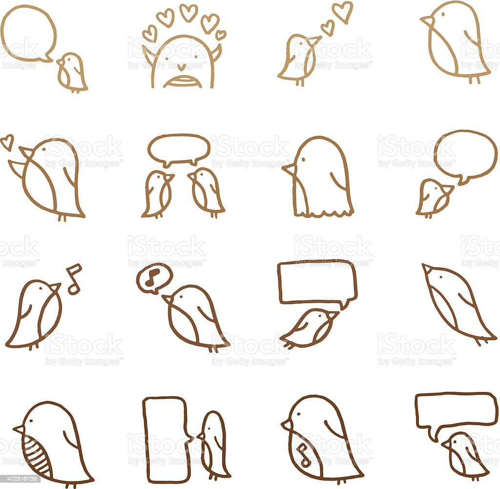 Cute little birds doodle icon set vector art illustration