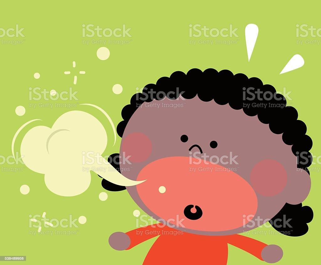 Cute little black girl (kid) burping, bad breath vector art illustration