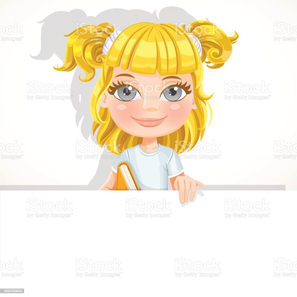Cute little blond girl with textbook hold big white banner vector art illustration