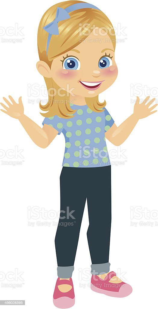 Cute Little Blonde Girl vector art illustration