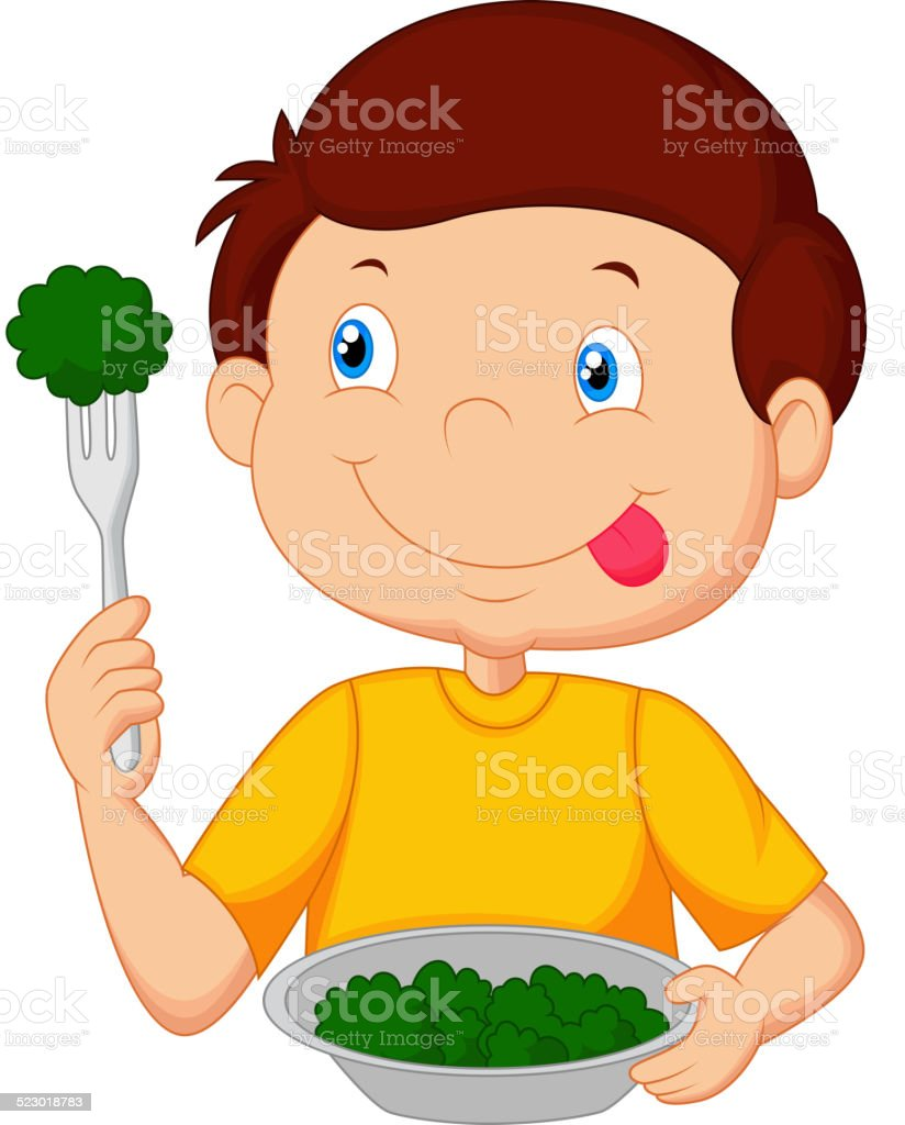 Cute little boy cartoon eats vegetable using fork vector art illustration