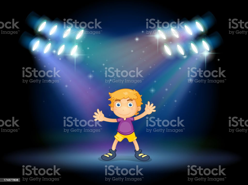Cute little boy dancing in the middle of stage royalty-free stock vector art