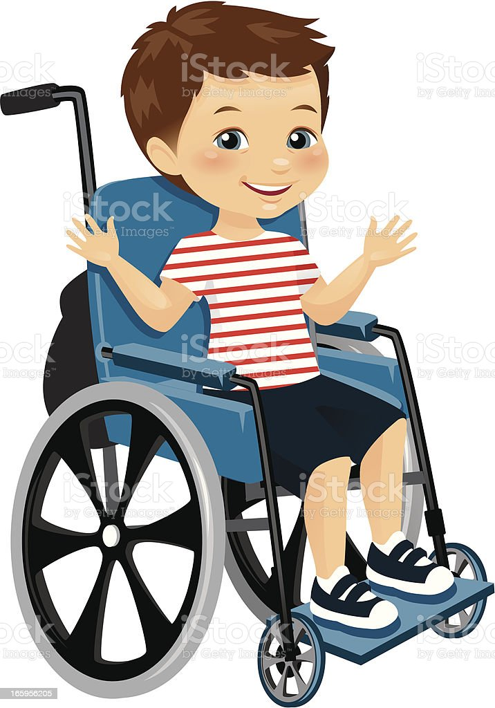 mignon petit gar on en fauteuil roulant stock vecteur libres de droits 165956205 istock. Black Bedroom Furniture Sets. Home Design Ideas