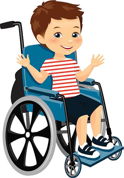 Cartoon Illustration Of A Boy In A Wheelchair Clip Art, Vector