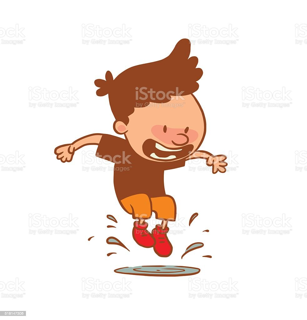 Cute little boy jumping on a puddle, color image vector art illustration