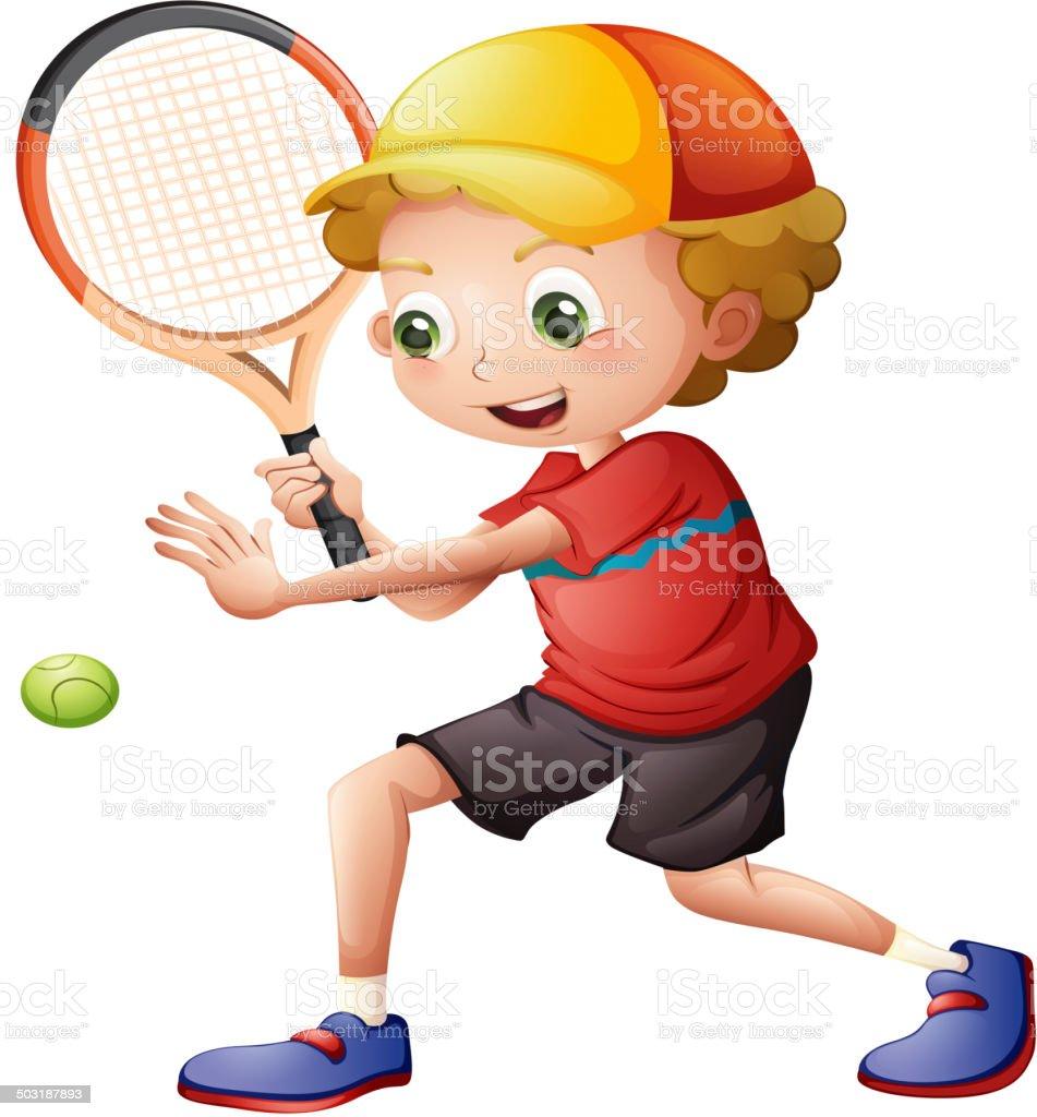 Cute little boy playing tennis vector art illustration