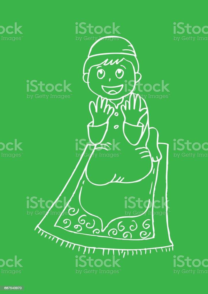 Cute little boy praying vector art illustration