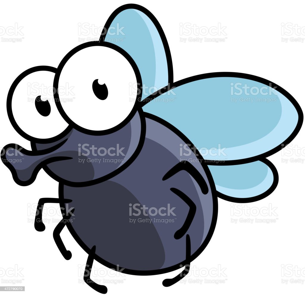 Cute little cartoon fly insect vector art illustration
