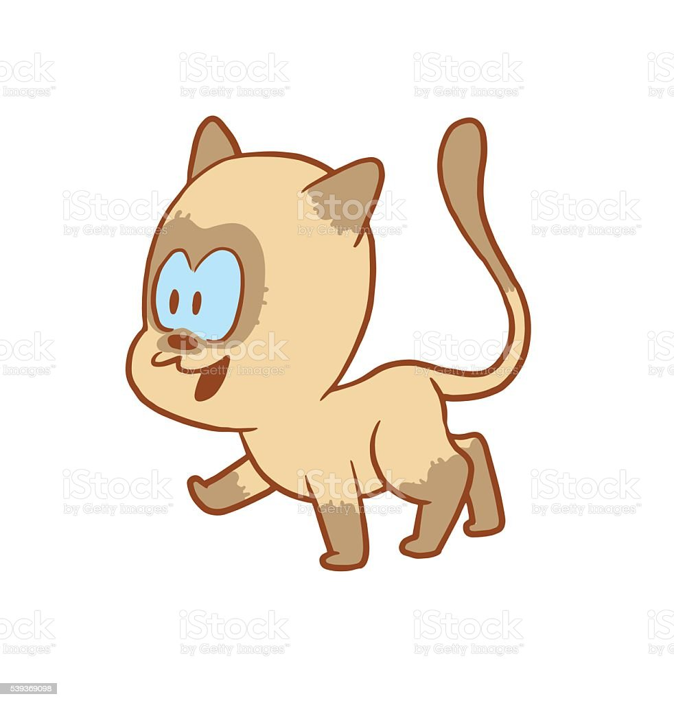 Cute little cat walking somewhere and smiling, color image vector art illustration
