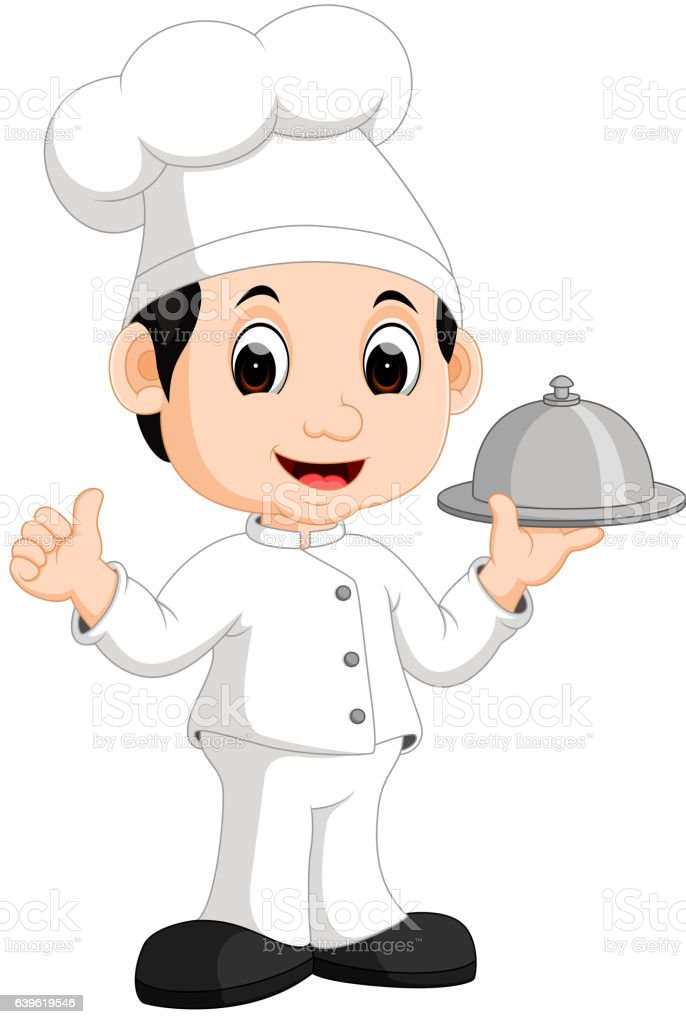 Cute little chef bringing the dishes vector art illustration