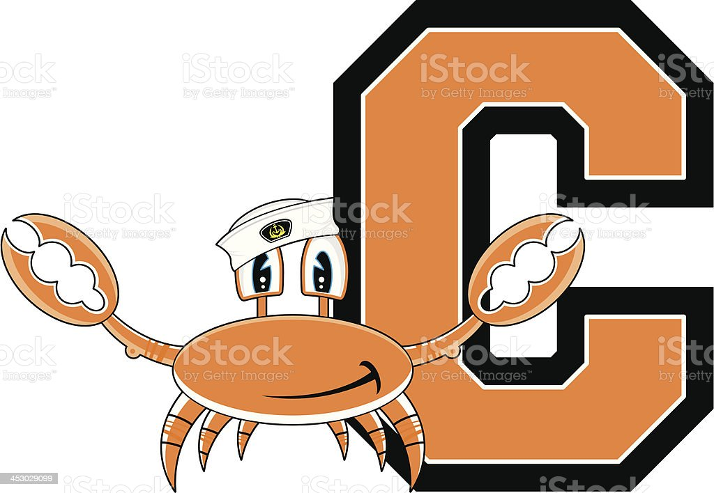 Cute Little Crab Learning Letter C royalty-free stock vector art