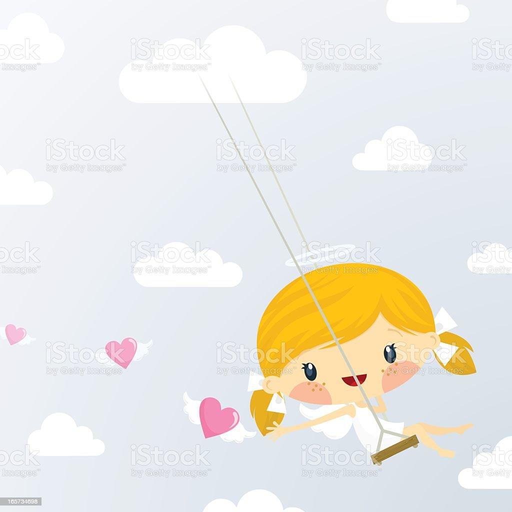 Cute little cupid girl. St Valentine?s day illustration vector vector art illustration