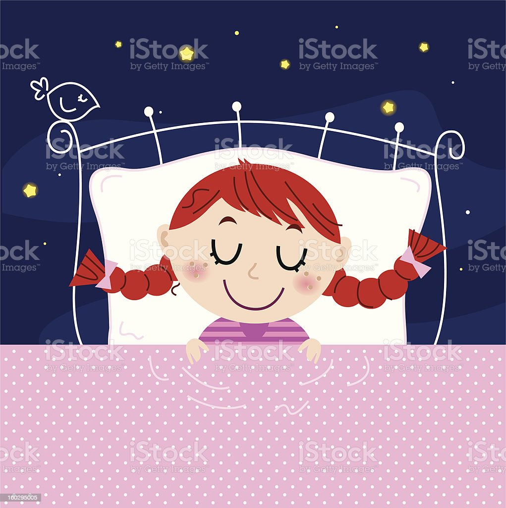 Cute little dreaming girl in bed with stars on sky royalty-free stock vector art