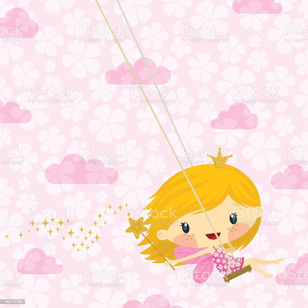 Cute little fairy princess / pink happy birthday illustration vector royalty-free stock vector art