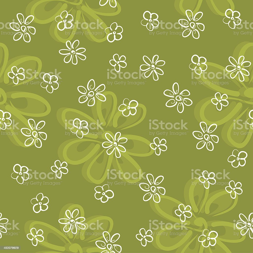 cute little flowers on a green meadow seamless pattern royalty-free stock vector art