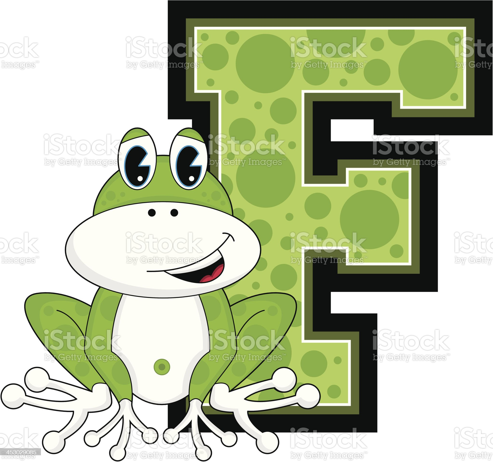 Cute Little Frog Learning Letter F royalty-free stock vector art