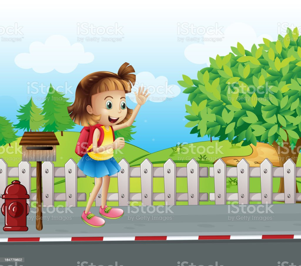 cute little girl at the street beside mailbox royalty-free stock vector art
