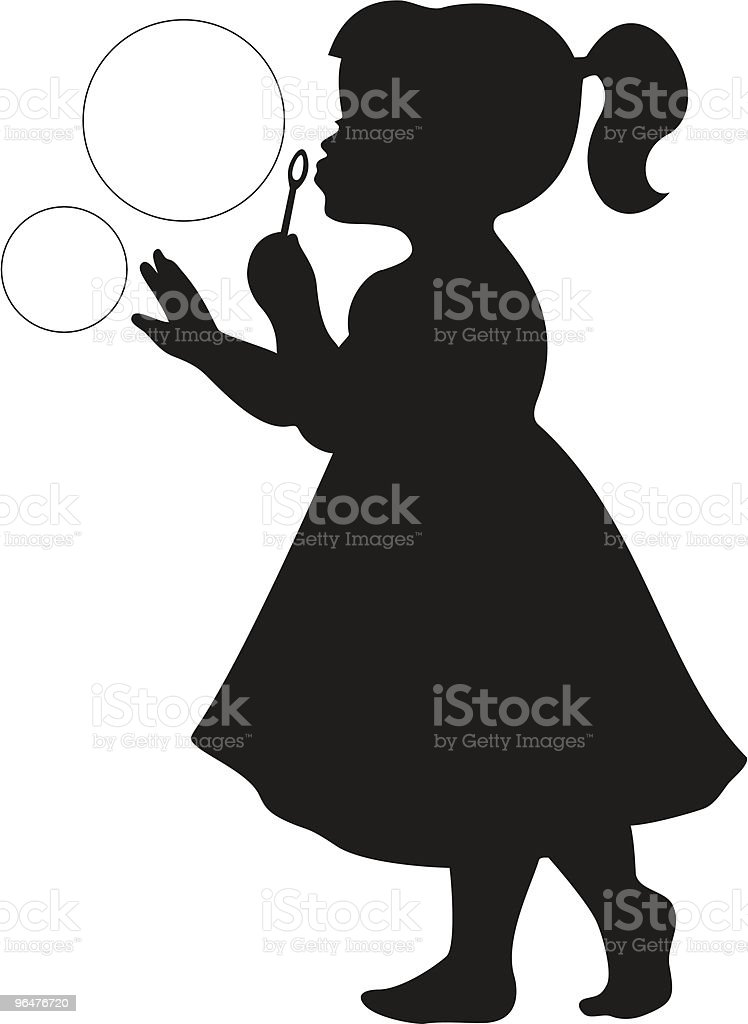 Cute little Girl Blowing Bubbles vector art illustration